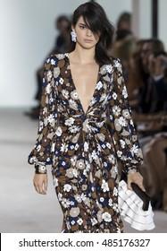 NEW YORK, NY - SEPTEMBER 14, 2016: Kendall Jenner walks the runway at the Michael Kors Spring Summer 2017 fashion show during New York Fashion Week at Spring Studio