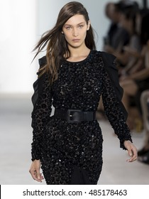 NEW YORK, NY - SEPTEMBER 14, 2016: Bella Hadid walks the runway at the Michael Kors Spring Summer 2017 fashion show during New York Fashion Week at Spring Studio