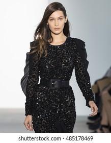 NEW YORK, NY - SEPTEMBER 14, 2016: Bella Hadid walks the runway at the Michael Kors Spring Summer 2017 fashion show during New York Fashion Week at Spring Studio