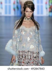 NEW YORK, NY - SEPTEMBER 14, 2016: Bella Hadid walks the runway at the Anna Sui Spring Summer 2017 fashion show during New York Fashion Week