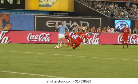 New York, NY - September 16, 2015: Jason Hernandez (2) of NYC FC controls ball during game between New York City FC and Toronto FC at Yankee Stadium