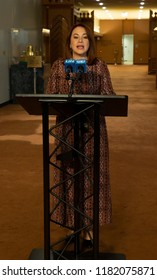 New York, NY - September 17, 2018: Maria Fernanda Espinosa Garces President of 73rd Session of General Assembly speaks to media at United Nations Headquarters