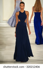 NEW YORK, NY - SEPTEMBER 17: A model walks the runway wearing Ralph Lauren Spring 2016 during New York Fashion Week: The Shows at Skylight Clarkson Sq on September 17, 2015 in New York City.