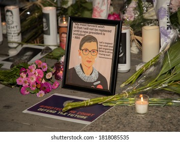 NEW YORK, N.Y. – September 19, 2020: A makeshift memorial to United States Supreme Court Justice Ruth Bader Ginsburg is seen outside the New York State Supreme Court Building in Foley Square.