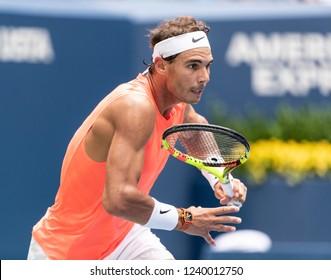 New York, NY - September 2, 2018: Rafael Nadal of Spain chases ball during US Open 2018 4th round match against Nikoloz Basilashvili of Georgia at USTA Billie Jean King National Tennis Center