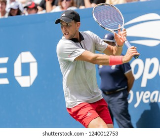 New York, NY - September 2, 2018: Dominic Thiem of Austria returns ball during US Open 2018 4th round match against Kevin Anderson of South Africa at USTA Billie Jean King National Tennis Center
