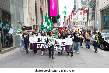 New York, NY - September 22, 2018: Jenny Wang of Committee for Admission of Taiwan to the United Nations leeds rally along 42nd street in Manhattan ahead of opening UN General Assembly