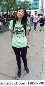 New York, NY - September 22, 2018: Jenny Wang of Committee for Admission of Taiwan to the United Nations stage rally along 42nd street in Manhattan ahead of opening UN General Assembly