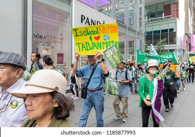 New York, NY - September 22, 2018: Members of Committee for Admission of Taiwan to the United Nations stage rally along 42nd street in Manhattan ahead of opening UN General Assembly