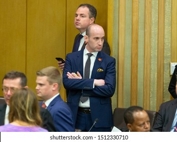 New York, NY - September 23, 2019: Stephen Miller attends UN global call to protect religious freedom meeting at UN Headquarters