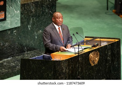 New York, NY - September 24, 2018: President of Republic of South Africa Cyril Ramaphosa speaks during Nelson Mandela Peace Summit at UN General Assembly 73rd session at United Nations Headquarters