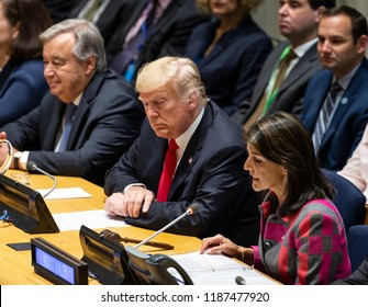 New York, NY - September 24, 2018: Secretary-General Antonio Guterres, US President Donald Trump, Ambassador Nikki Haley attend UN GA high level event on Counter Narcotics during 73rd session at UN