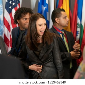 New York, NY - September 24, 2019: Prime Minister of New Zeland Jacinda Kate Laurell Ardern attends luncheon hosted by Secretary-General during 74th General Assembly at UN Headquarters