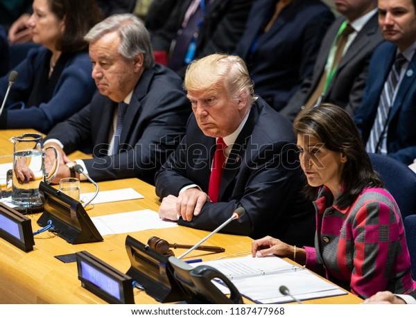 New York, NY - September 24, 2018: Secretary-General Antonio Guterres, US President Donald Trump, Ambassador Nikki Haley attend UN GA high level event on Counter Narcotics during 73rd session at UN