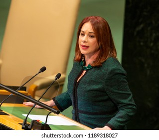 New York, NY - September 25, 2018: President of General Assembly Maria Fernanda Espinosa Garces speaks at 73rd UNGA session at United Nations Headquarters