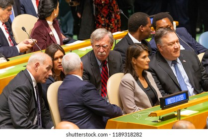 New York, NY - September 25, 2018: John Kelly, Sarah Sanders, John Bolton, Mike Pence, Nikki Haley, Mike Pompeo attend 73rd UNGA session at United Nations Headquarters