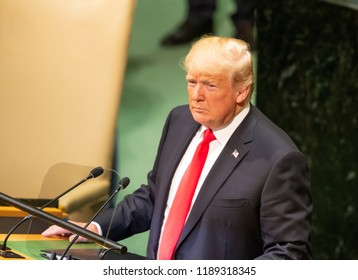 New York, NY - September 25, 2018: President of USA Donald Trump speaks at 73rd UNGA session at United Nations Headquarters