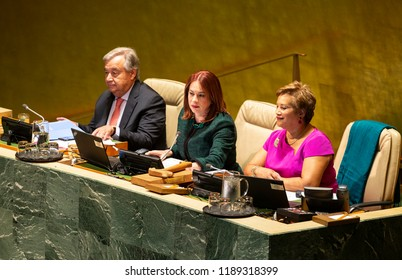 New York, NY - September 25, 2018: Secretary_general Antoni Guterres and President of General Assembly Maria Fernanda Espinosa Garces attend 73rd UNGA session at United Nations Headquarters