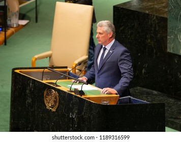 New York, NY - September 26, 2018: President of Cuba Miguel Diaz-Canel speaks at 73rd UNGA session at United Nations Headquarters