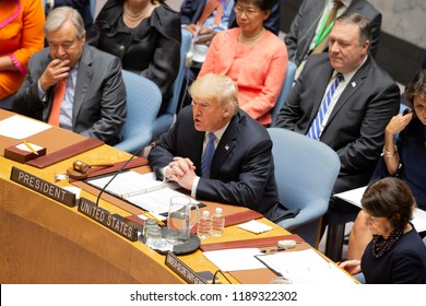 New York, NY - September 26, 2018: US President Donald Trump addresses Security Council meeting on Non-proliferation of Weapons of Mass Destruction presided by President of US Donald Trump at UN