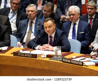 New York, NY - September 26, 2018: Poland President Andrzej Duda addresses Security Council meeting on Non-proliferation of Weapons of Mass Destruction presided by President of US Donald Trump at UN