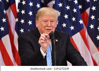 NEW YORK, NY - SEPTEMBER 26, 2018: President Donald Trump addresses the media at press conference in the Lotte Palace Hotel Villard Room.