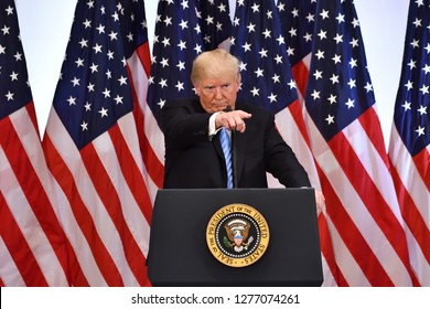 NEW YORK, NY - SEPTEMBER 26, 2018: President Donald Trump selects a reporter to ask him a question at a press conference at the Lotte Palace Hotel during the UN General Assembly.