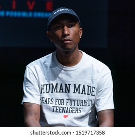 New York, NY - September 26, 2019: Pharell Williams attends press conference for Global Citizen & Teneo unveiling campaign plans and 2020 headliners at St. Ann's Warehouse
