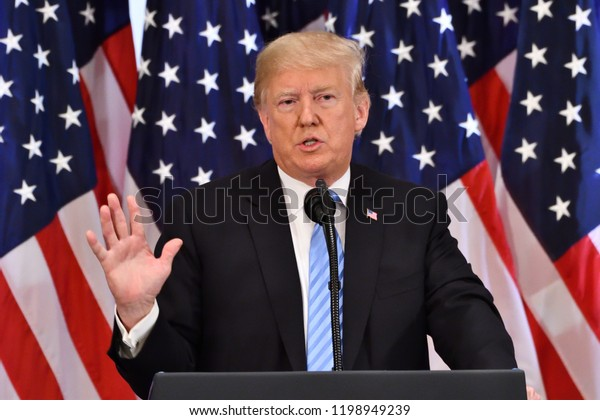 NEW YORK, NY - SEPTEMBER 26, 2018: Donald Trump,  the President of the United States addresses reporters on the sidelines of the UN General Assembly at the Lotte Palace Hotel.