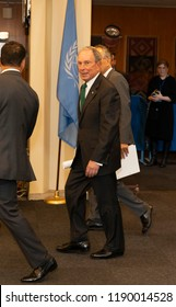 New York, NY - September 27, 2018: Michael Bloomberg leaves 73rd UNGA session at United Nations Headquarters