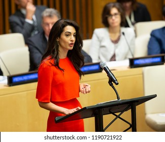 New York, NY - September 28, 2018: Amal Clooney attends side event Press behind bars during 73rd UNGA session at United Nations Headquarters