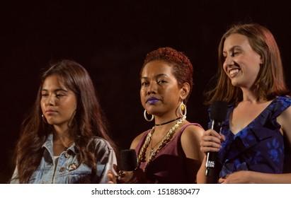 New York, NY - September 28, 2019: Xiye Bastida, Selina Neirok Leem, Alexandria Villasenor speak on stage during 2019 Global Citizen Festival at Central Park