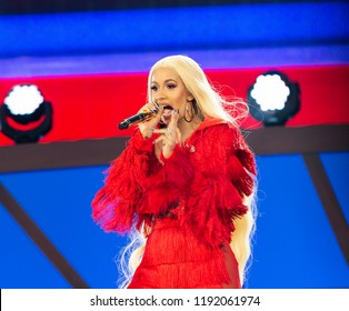 New York, NY - September 29, 2018: Cardi B performs on stage during 2018 Global Citizen Festival: Be The Generation in Central Park