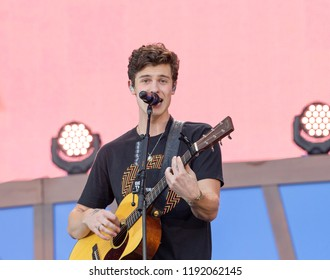 New York, NY - September 29, 2018: Shawn Mendes performs on stage during 2018 Global Citizen Festival: Be The Generation in Central Park