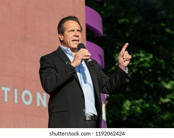 New York, NY - September 29, 2018: Governor Andrew Cuomo speaks on stage during 2018 Global Citizen Festival: Be The Generation in Central Park