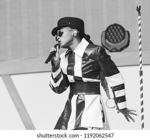 New York, NY - September 29, 2018: Janelle Monae performs on stage during 2018 Global Citizen Festival: Be The Generation in Central Park