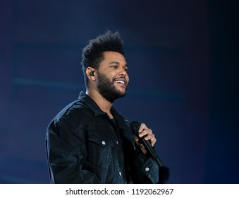 New York, NY - September 29, 2018: The Weeknd performs on stage during 2018 Global Citizen Festival: Be The Generation in Central Park