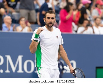 New York, NY - September 3, 2018: Marin Cilic of Croatia reacts during US Open 2018 4th round match against David Goffin of Belgium at USTA Billie Jean King National Tennis Center