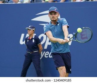 New York, NY - September 3, 2018: David Goffin of Belgium returns ball during US Open 2018 4th round match against Marin Cilic of Croatia at USTA Billie Jean King National Tennis Center