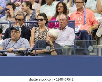 New York, NY - September 3, 2018: Diana Taylor, Michael Bloomberg attend US Open 2018 4th round match between Maria Sharapova of Russia & Carla Suarez Navarro of Spain at USTA National Tennis Center