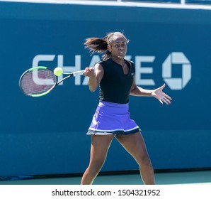 New York, NY - September 3, 2019: Abigail Forbes (USA) in action during 1st round of US Open Championship girls juniors against Ane Mintegi Del Olmo (Spain) at Billie Jean King National Tennis Center