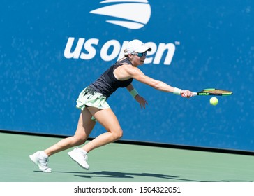 New York, NY - September 3, 2019: Katie Volynets (USA) in action during 1st round of US Open Championship girls juniors against Carole Monnet (France) at Billie Jean King National Tennis Center
