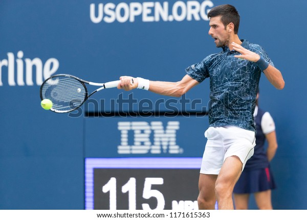 New York, NY - September 3, 2018: Novak Djokovic of Serbia returns ball during US Open 2018 4th round match against Joao Sousa of Portugal at USTA Billie Jean King National Tennis Center