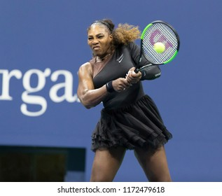 New York, NY - September 4, 2018: Serena Williams of USA returns ball during US Open 2018 quarterfinal match against Karolina Pliskova of Czech Republic at USTA Billie Jean King National Tennis Center
