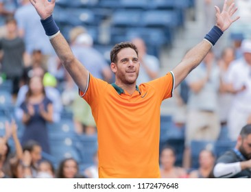 New York, NY - September 4, 2018: Juan Martin del Potro of Argentina celebrates victory in US Open 2018 quarterfinal match against John Isner of USA at USTA Billie Jean King National Tennis Center