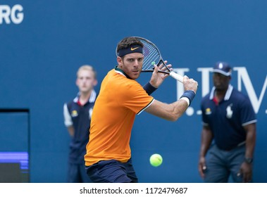 New York, NY - September 4, 2018: Juan Martin del Potro of Argentina returns ball during US Open 2018 quarterfinal match against John Isner of USA at USTA Billie Jean King National Tennis Center