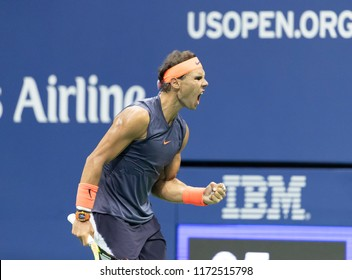 New York, NY - September 4, 2018: Rafael Nadal of Spain reacts during US Open 2018 quarterfinal match against Dominic Thiem of Austria at USTA Billie Jean King National Tennis Center