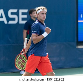 New York, NY - September 4, 2019: Toby Alex Codat (USA) in action during 2nd round of US Open Championship boys juniors against Milan Welte (Germany) at Billie Jean King National Tennis Center