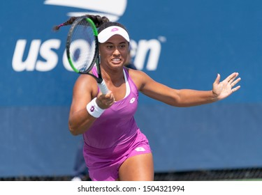 New York, NY - September 4, 2019: Savannah Broadus (USA) in action during 2nd round of US Open Championship boys juniors against Polina Kudermetova (Russia) at Billie Jean King National Tennis Center