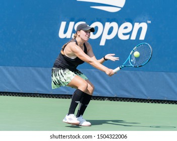 New York, NY - September 4, 2019: Reese Brantmeier (USA) in action during 2nd round of US Open Championship boys juniors against Marta Custic (Spain) at Billie Jean King National Tennis Center